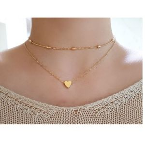 Jewelry - 4 for $20 Layered Heart Choker Necklace (Gold)